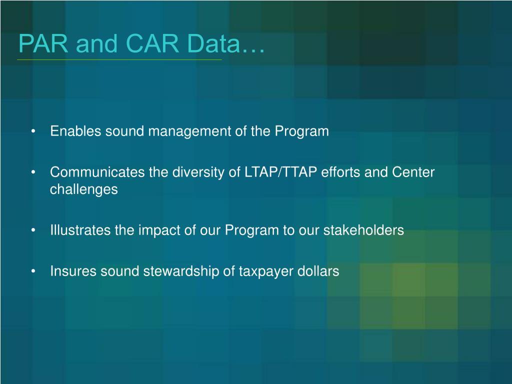 PAR and CAR Data…