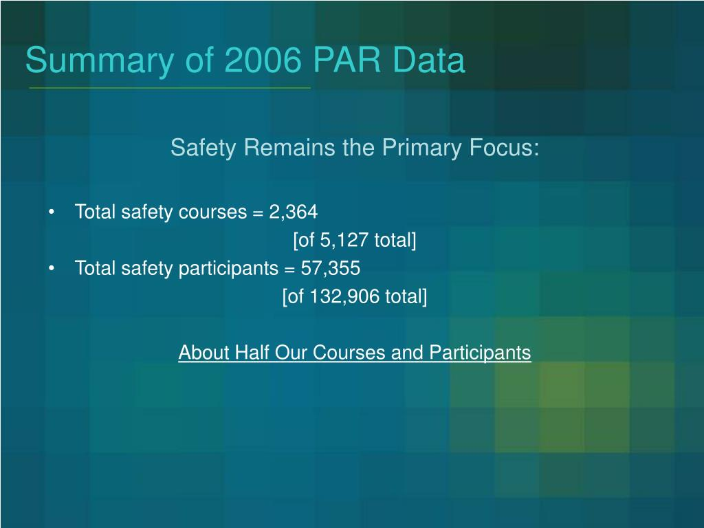 Summary of 2006 PAR Data