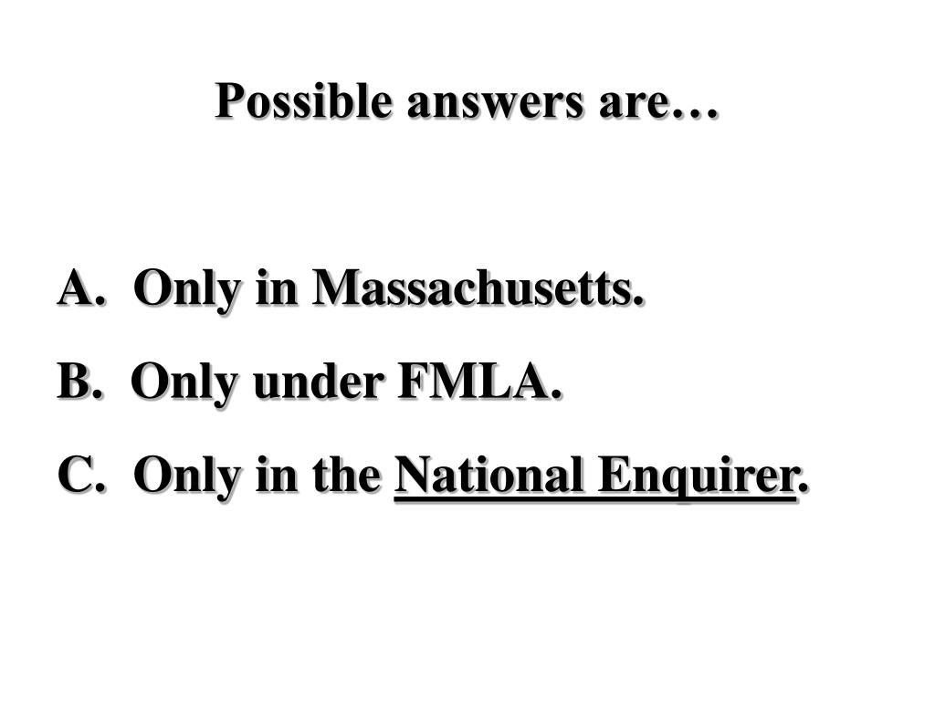 Possible answers are…