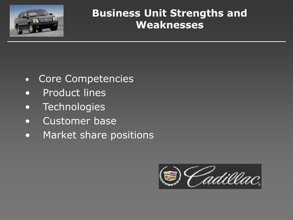 Business Unit Strengths and Weaknesses