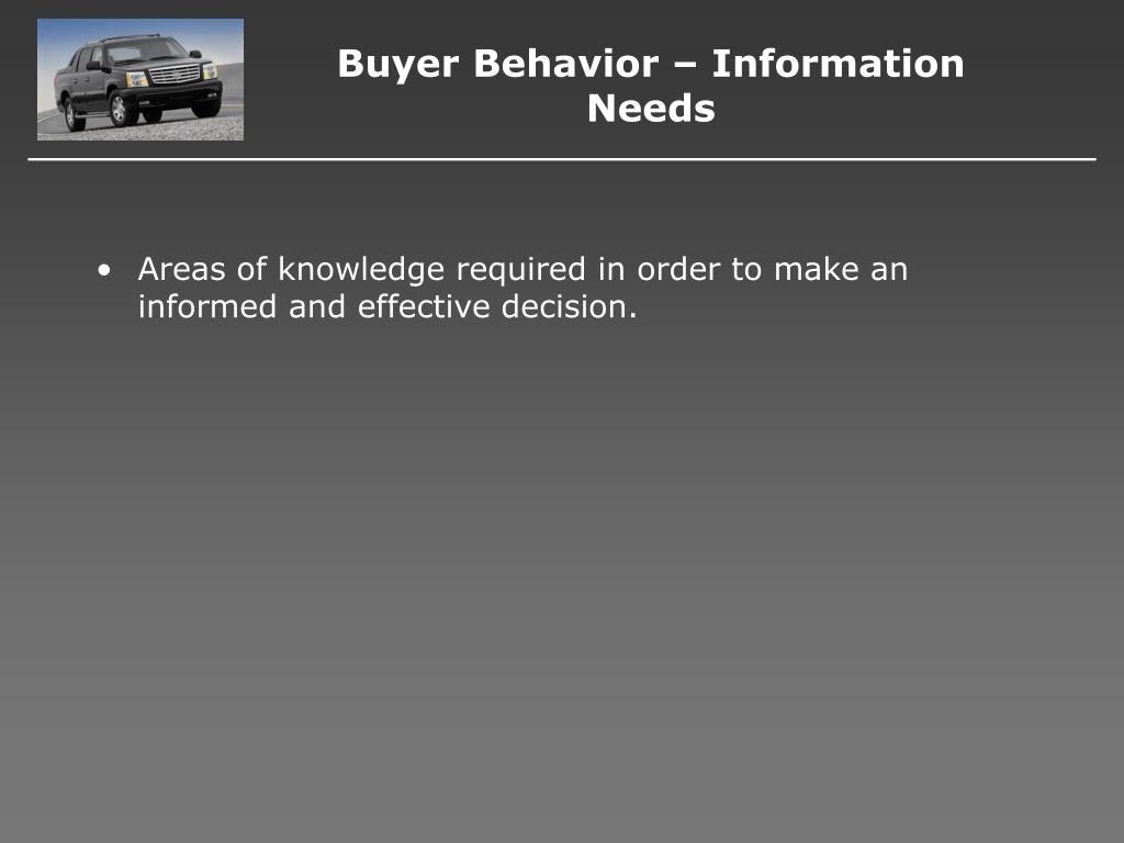 Buyer Behavior – Information Needs