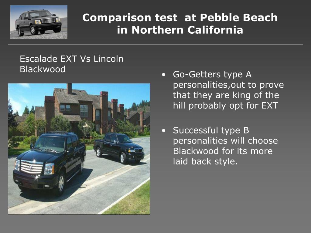 Comparison test  at Pebble Beach in Northern California
