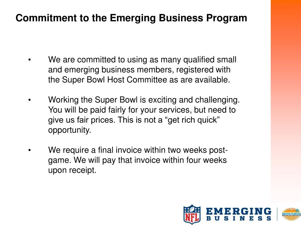 Commitment to the Emerging Business Program