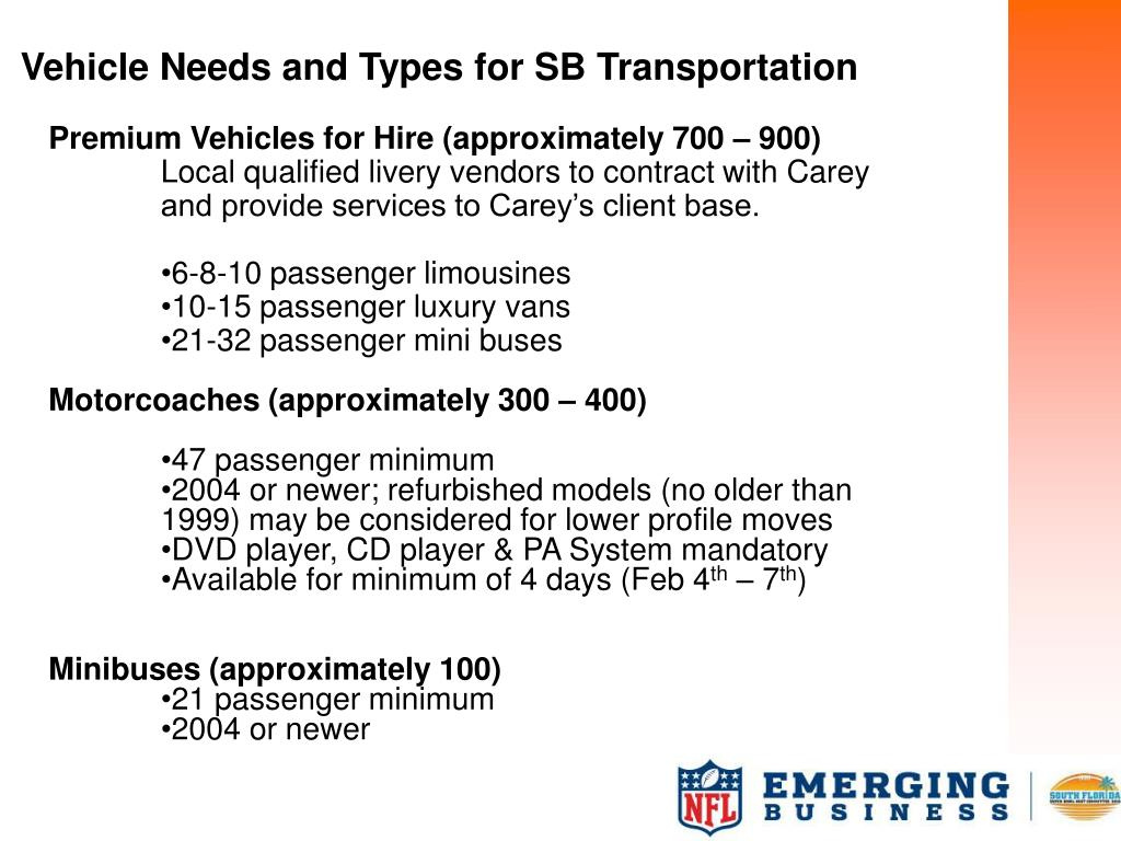 Vehicle Needs and Types for SB Transportation