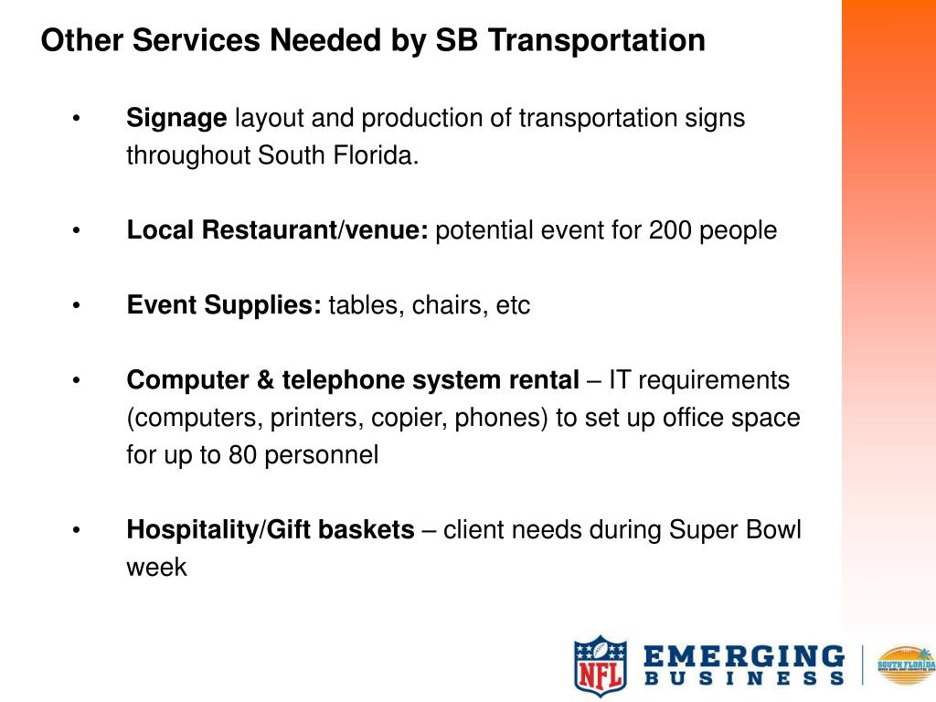 Other Services Needed by SB Transportation