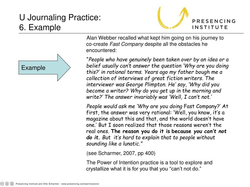 U Journaling Practice: