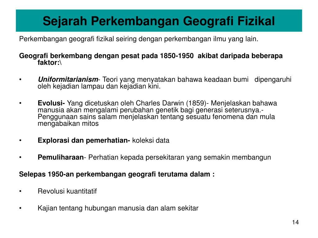 Sejarah Perkembangan Geografi Fizikal