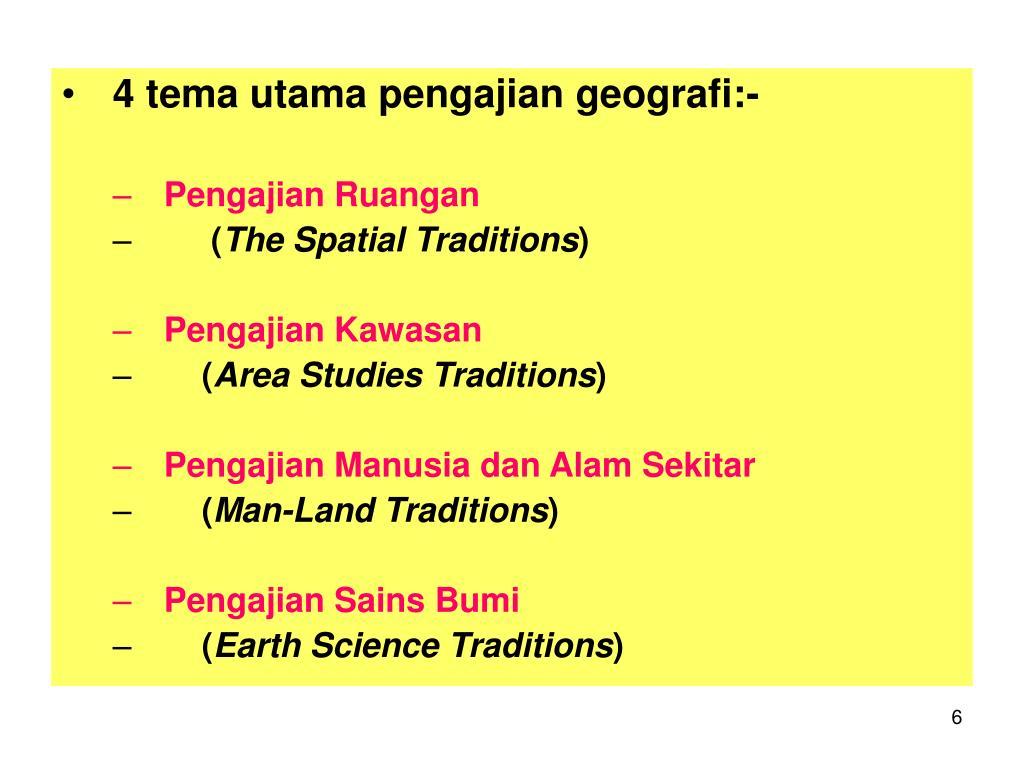 4 tema utama pengajian geografi:-