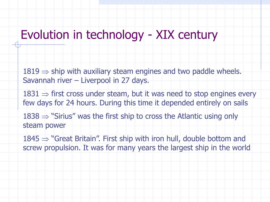 Evolution in technology - XIX century