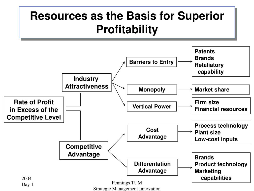 Resources as the Basis for Superior Profitability