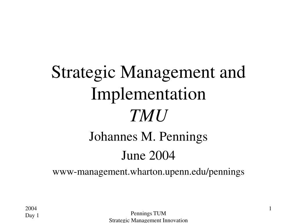 strategic management and implementation tmu