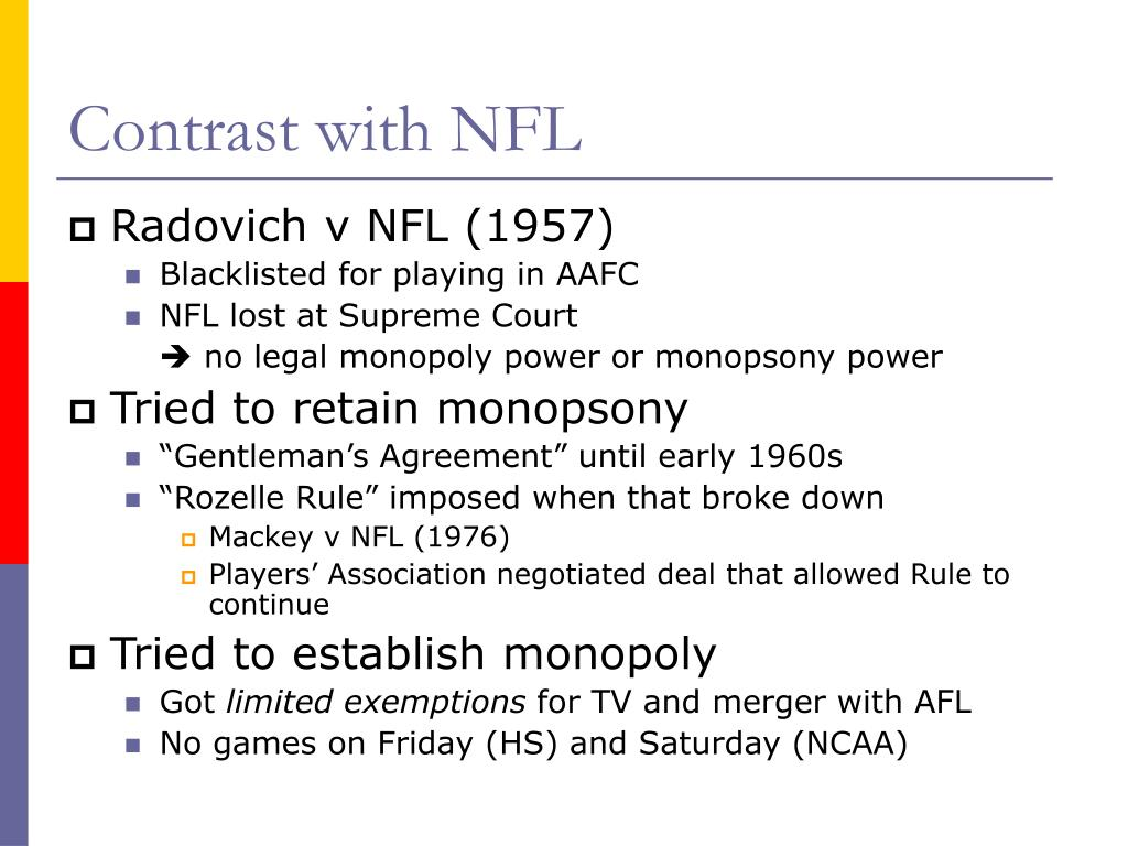 Contrast with NFL