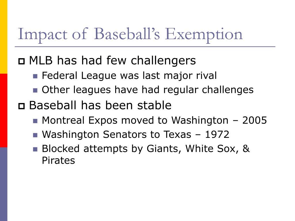 Impact of Baseball's Exemption
