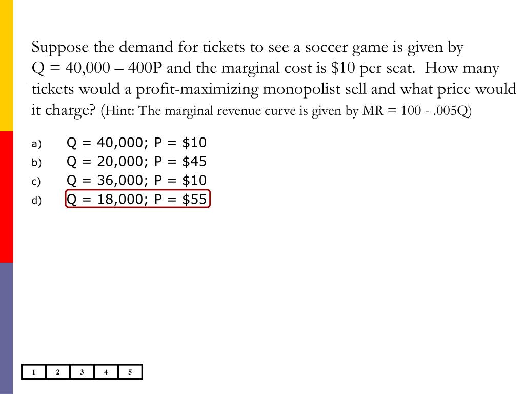 Suppose the demand for tickets to see a soccer game is given by