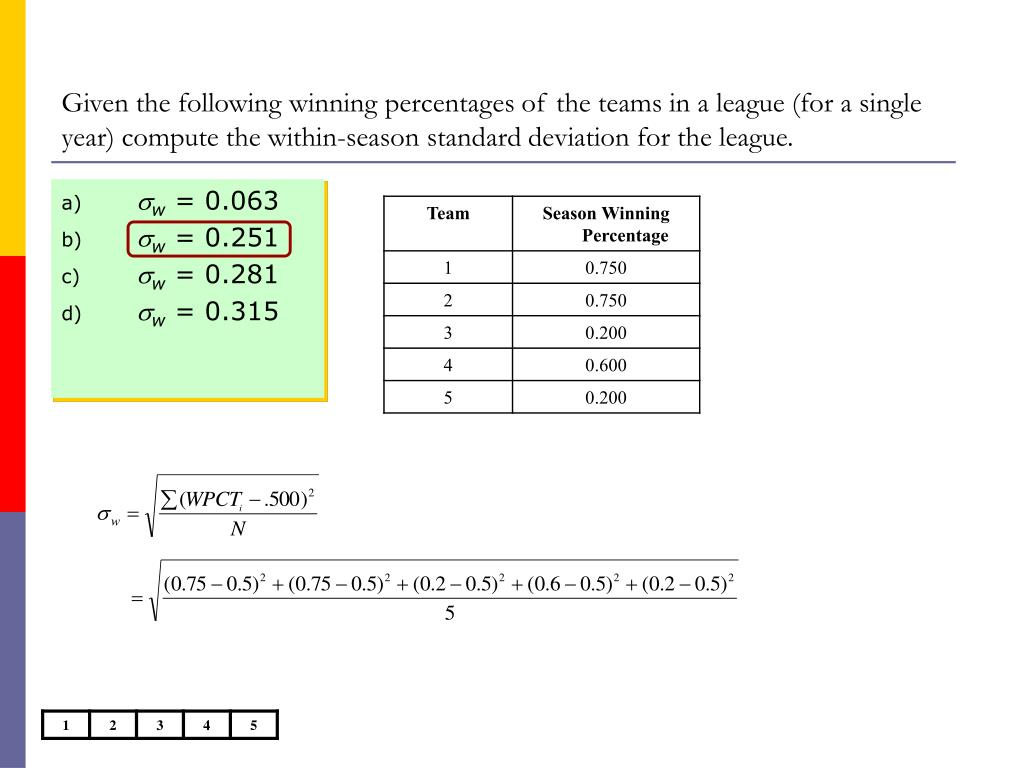 Given the following winning percentages of the teams in a league (for a single year) compute the within-season standard deviation for the league.