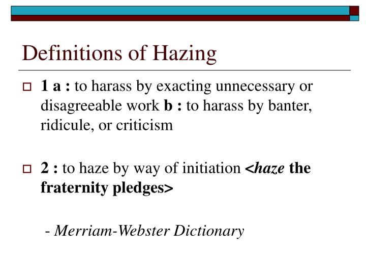 Definitions of hazing