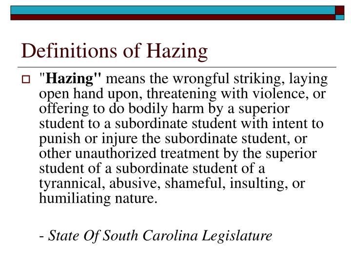 Definitions of hazing1