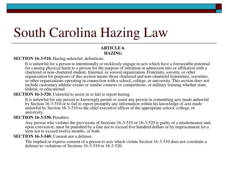 South Carolina Hazing Law
