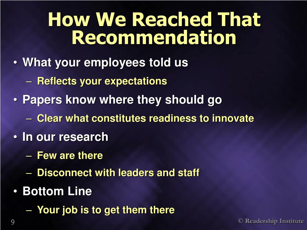 How We Reached That Recommendation
