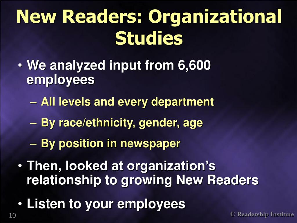 New Readers: Organizational