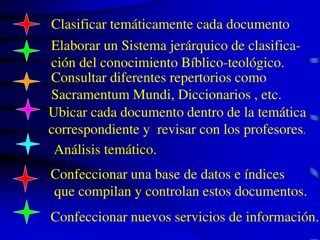 Clasificar temáticamente cada documento