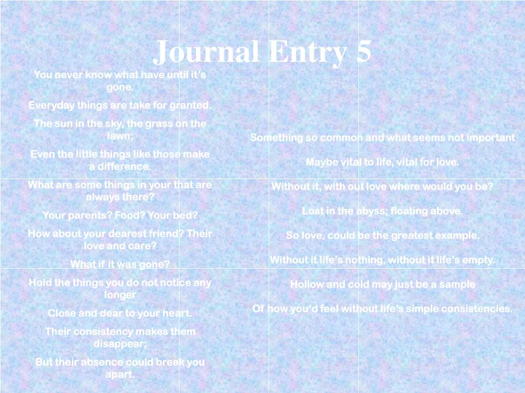 Journal Entry 5