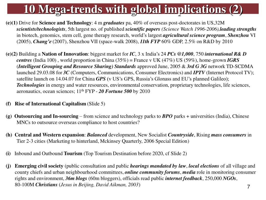 10 Mega-trends with global implications (2)