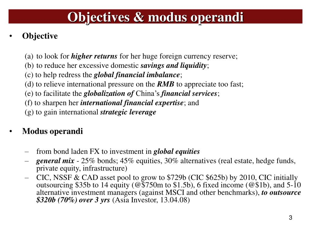 Objectives & modus operandi