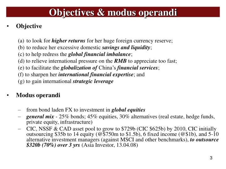 Objectives modus operandi