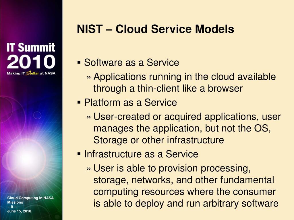 NIST – Cloud Service Models