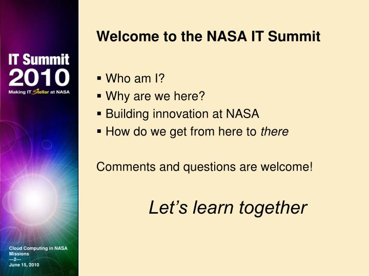 Welcome to the nasa it summit