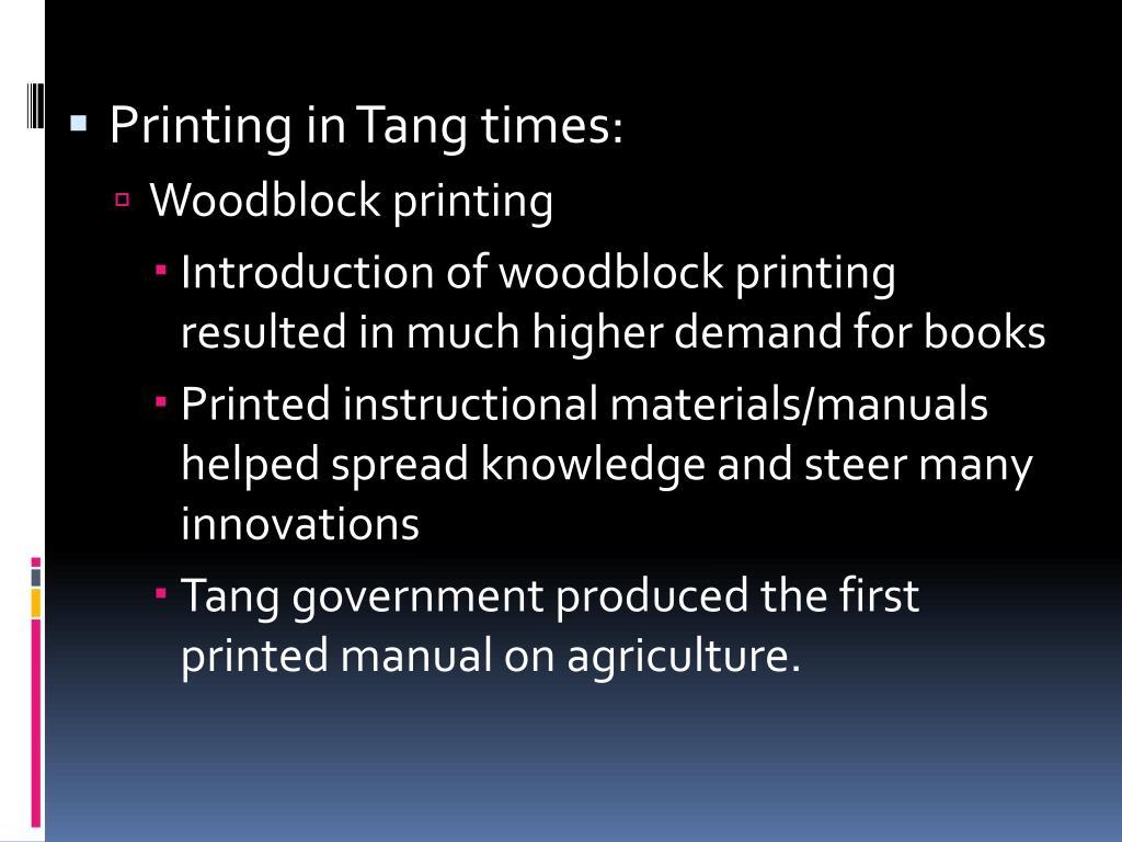 Printing in Tang times: