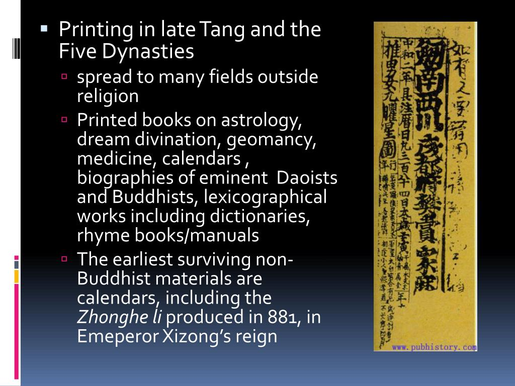 Printing in late Tang and the Five Dynasties