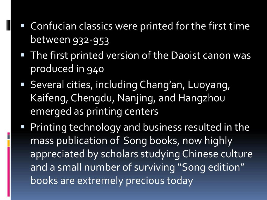 Confucian classics were printed for the first time between 932-953