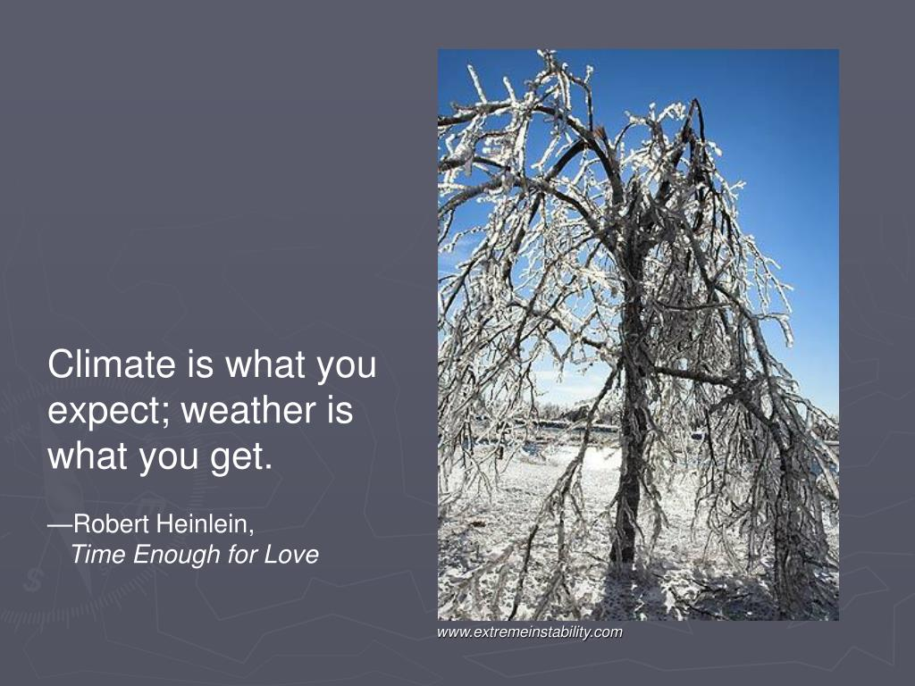 Climate is what you expect; weather is what you get.