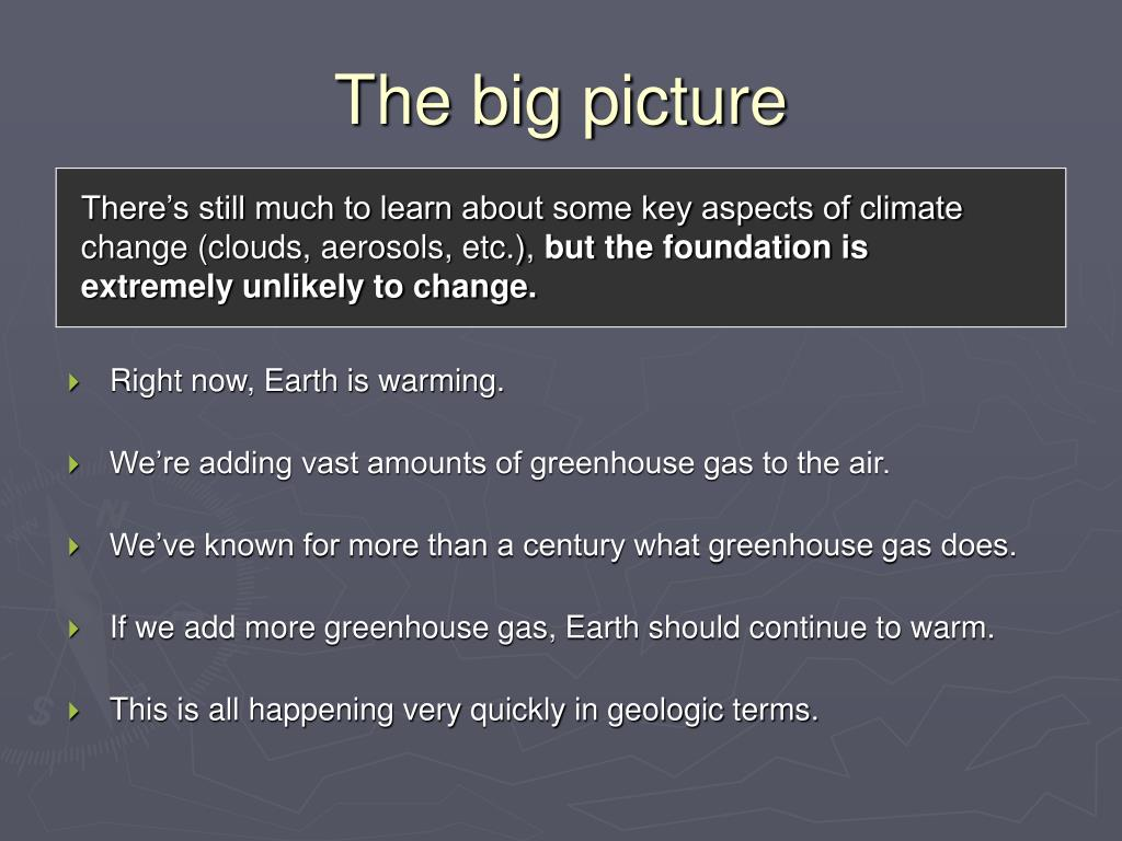 There's still much to learn about some key aspects of climate change (clouds, aerosols, etc.),