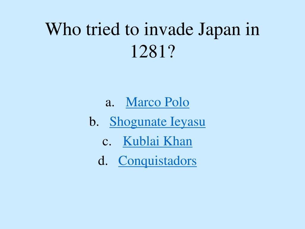 Who tried to invade Japan in 1281?