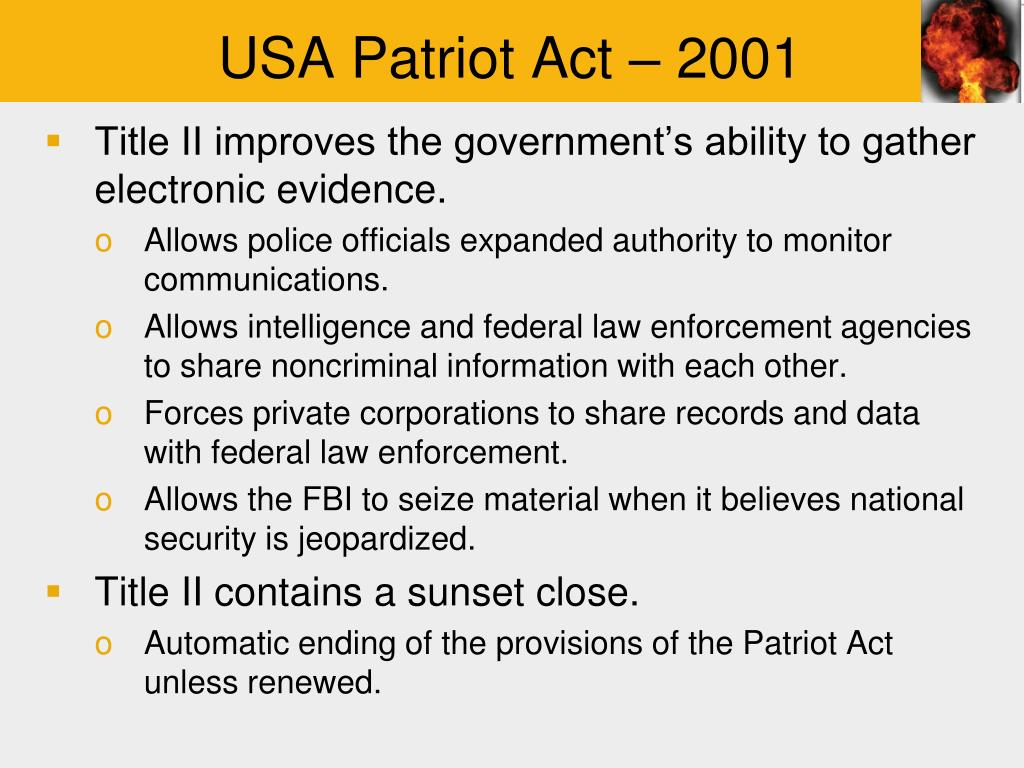 a study of usa patriot act Of the usa patriot act and on the in-depth study of the section 215 and 702 programs as well as the operations of the fisa.
