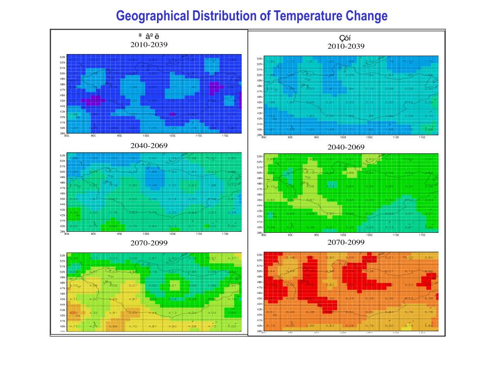 Geographical Distribution of Temperature Change