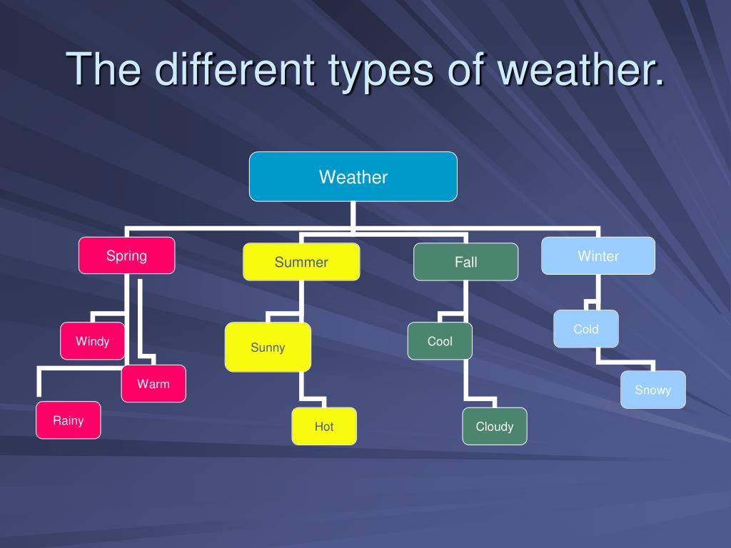 The different types of weather.