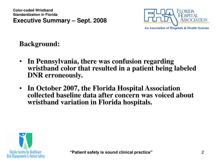 Color coded wristband standardization in florida executive summary sept 2008
