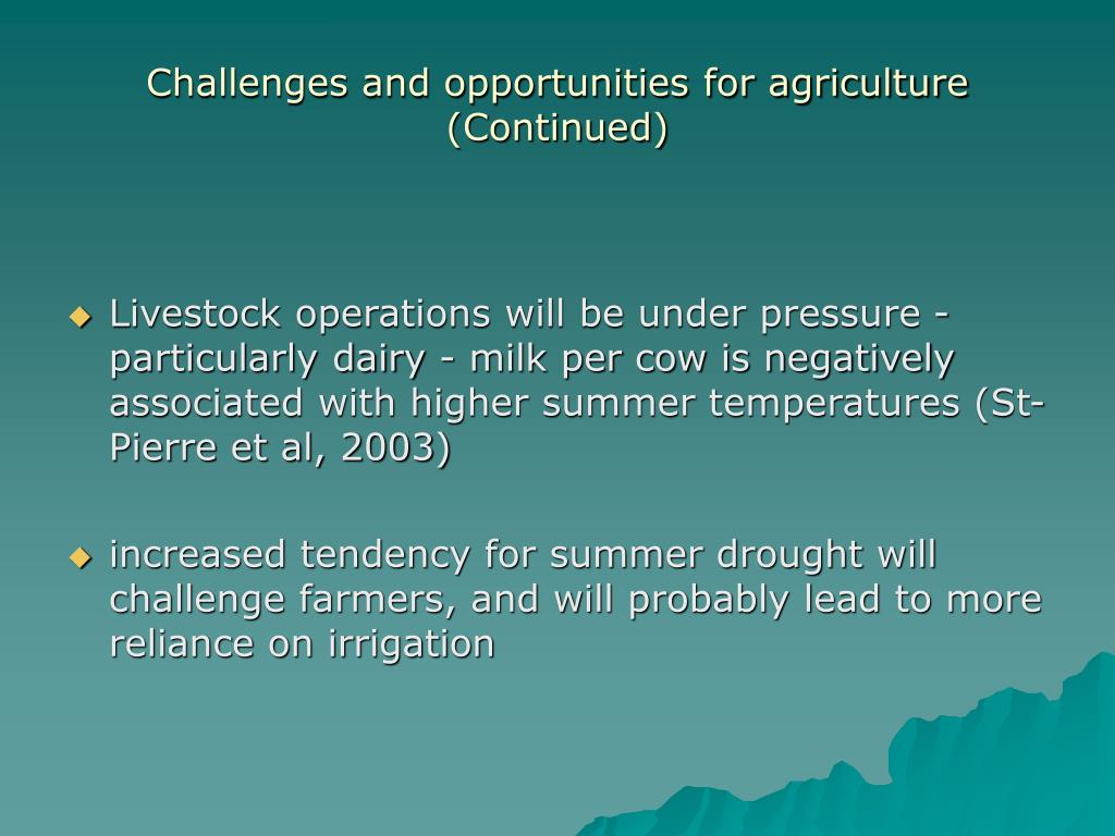 Challenges and opportunities for agriculture (Continued)