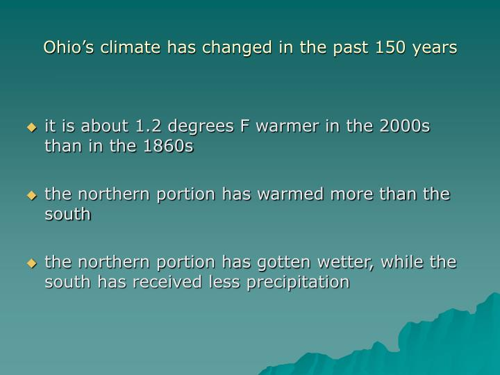 Ohio s climate has changed in the past 150 years