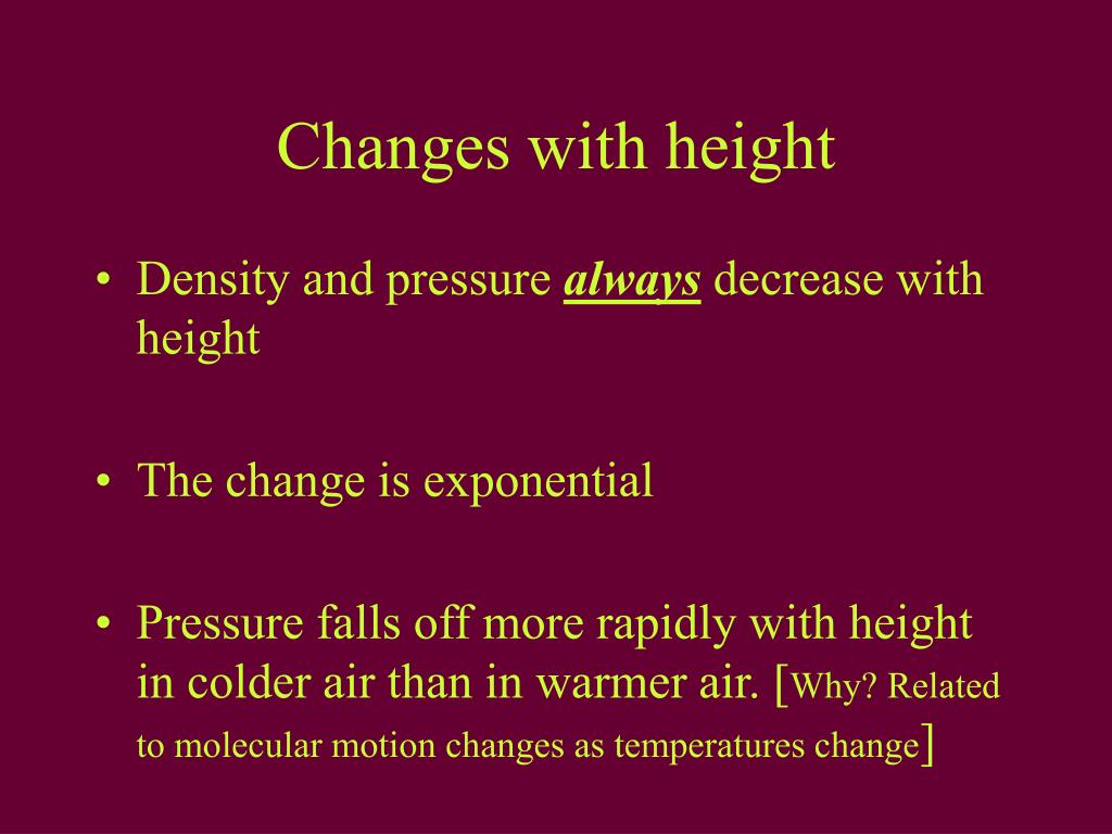Changes with height