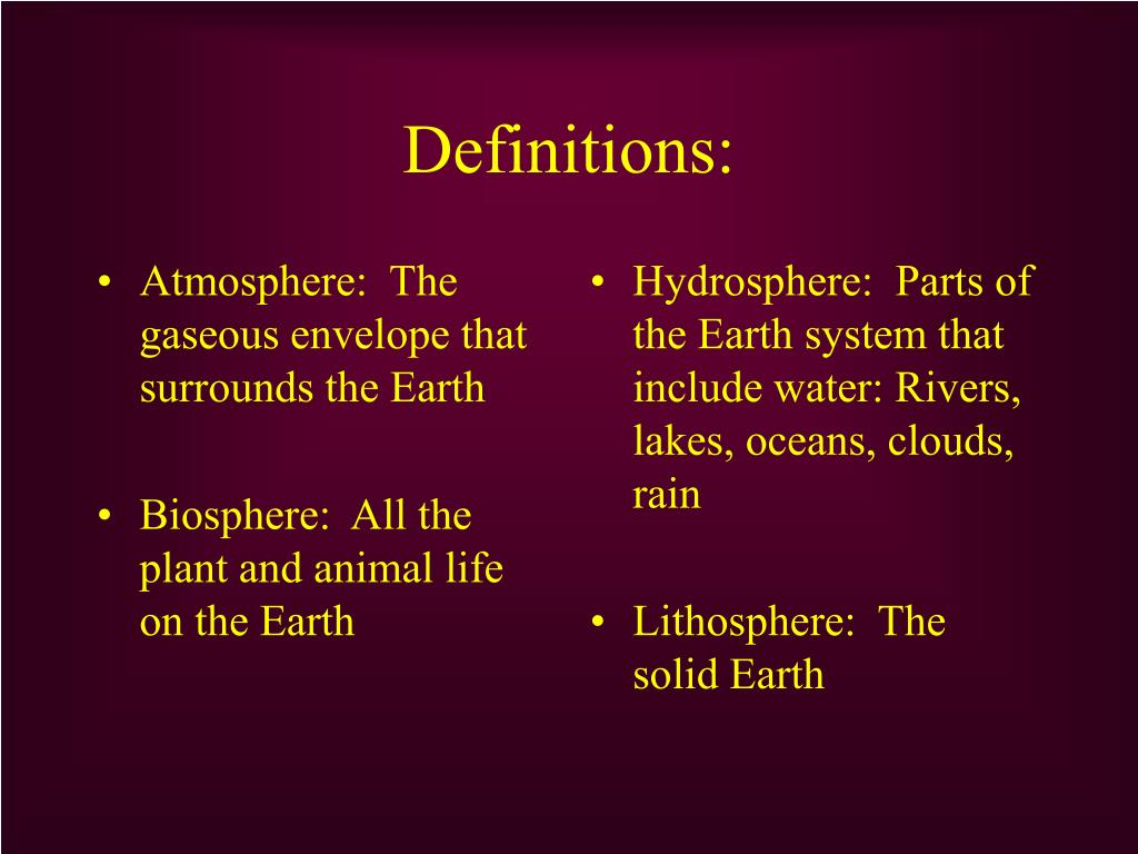 Atmosphere:  The gaseous envelope that surrounds the Earth