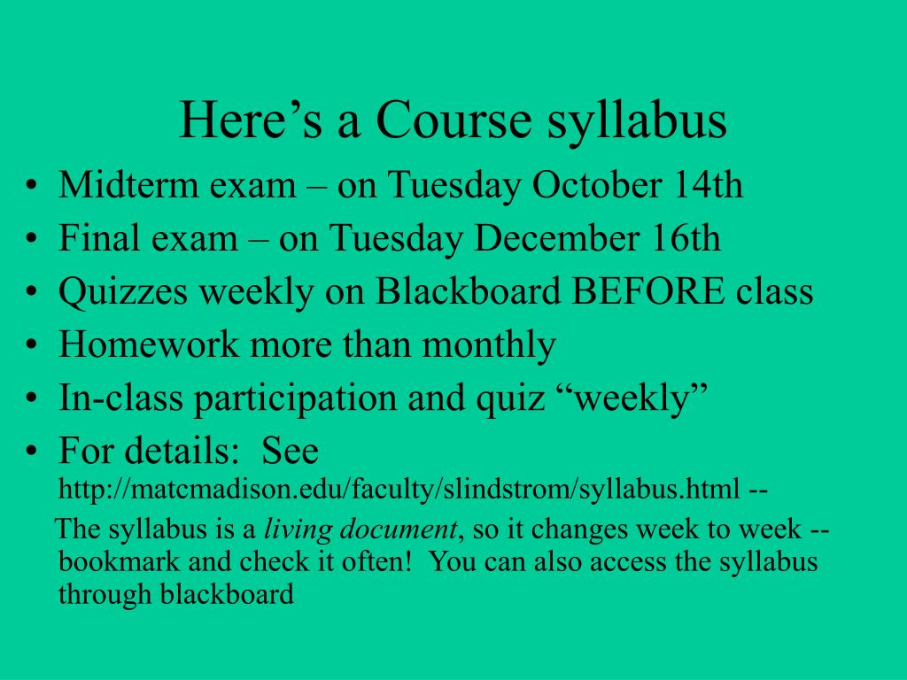Here's a Course syllabus