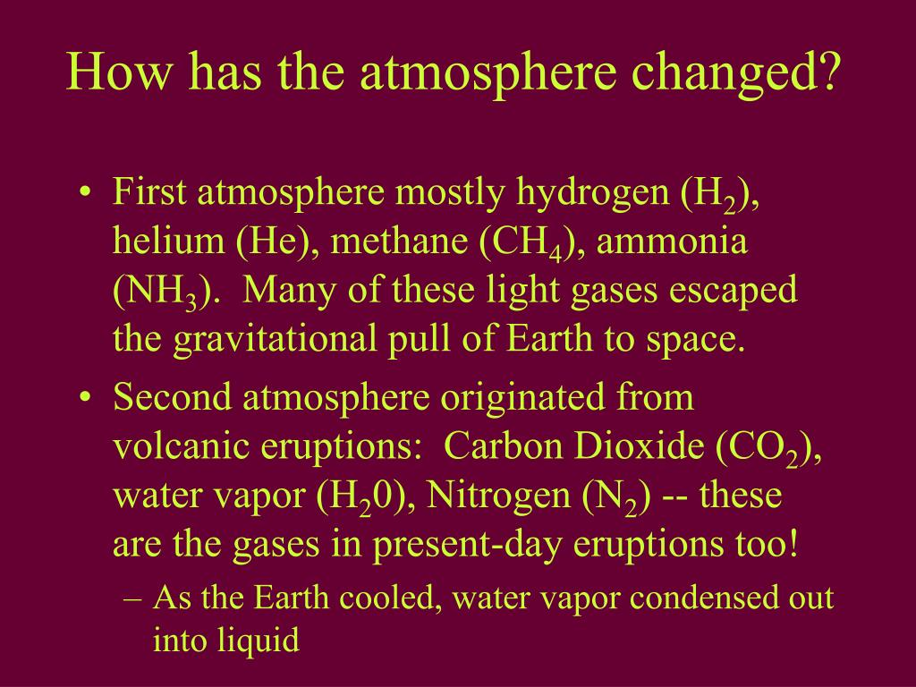 How has the atmosphere changed?