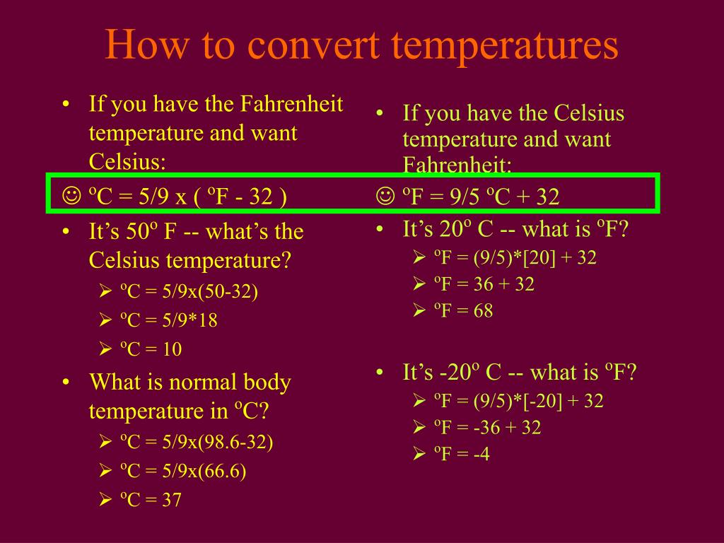 If you have the Fahrenheit temperature and want Celsius: