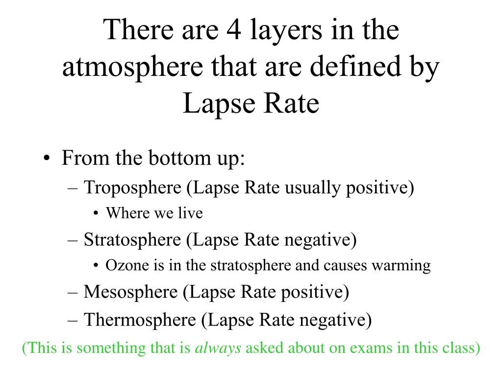 There are 4 layers in the atmosphere that are defined by Lapse Rate