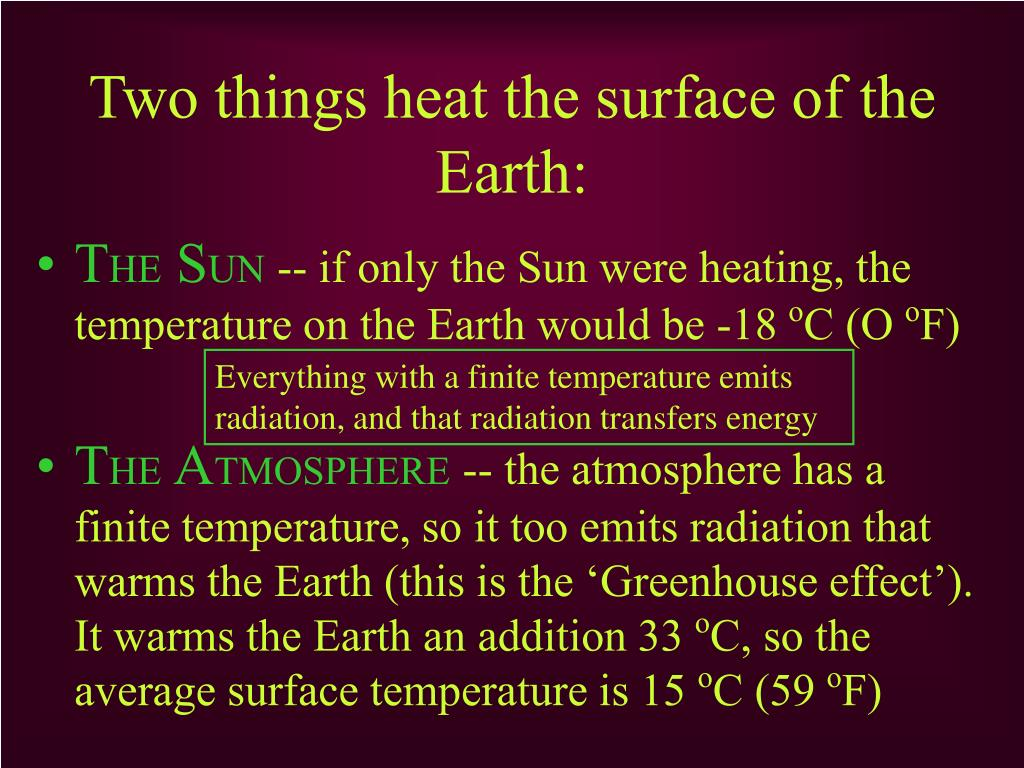 Two things heat the surface of the Earth: